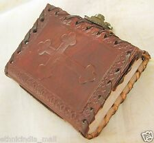 Handmade Celtic Cross Leather Bound Journal Vintage Mini Pocket Diary Blank Book