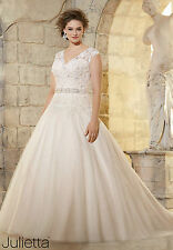 Plus wedding dress lace a line figure flattering any size white Ivory