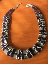 "Amethyst Silver Bead Bnwt 17"" Adjustable Necklace  T10787"