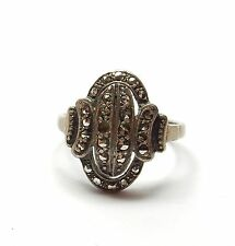 Vintage 925 Silver MARCASITE ART DECO STYLE COCKTAIL CLUSTER RING 5.1g P