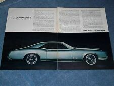 """1966 Buick Riviera GS Vintage 2pg Ad """"The Old Grey Buick Ain't What She Used To"""""""