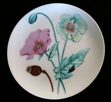 """Horchow Botanical Herb Seed """"Poppy Seed"""" Pink/Green Flower Salad/Dessert Plate"""