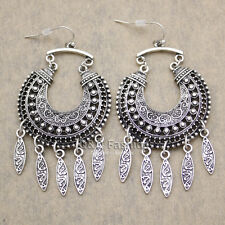 Ethnic Bali Jhumka Jhumki Silver Crescent Drops Mexican Gypsy Dangle Earrings W7