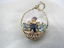 Beautiful 14k Yellow Gold Basket Charm Filled with Colorful Jewels & Pearls