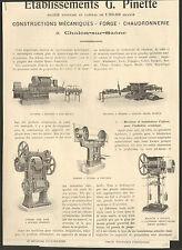 71 CHALON-SUR-SAONE ETS PINETTE CONSTRUCTIONS MECANIQUES PUBLI-REPORTAGE 1924