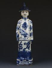 Chinese Blue and White Handwork Emperor Character Statue