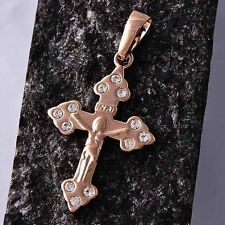 18K Rose Gold Plated Womens/mens Jesus Cross clear crystal Pendant jewelry