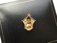 Vintage solid 9 ct yellow gold charm of moving cuckoo clock