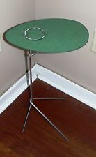 Vintage Mid Century Modern Iron Leg Flip Top Side End Table Patio Drink Stand