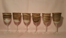1979 ~ SIX (6) signed steven maslach earth vtg studio art glass wine goblets