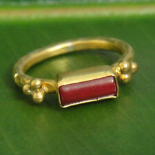 Handmade Turkish Designer Jewelry Coral Ring Gold Over 925K Sterling Silver