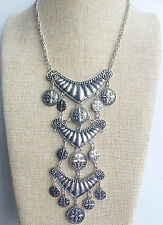 Silver Tibetan Indian Vintage Style Bohemian Mexican Gypsy Tassel Necklace