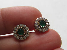 TURKISH OTTOMAN EMERALD ROUND 925K STERLING SILVER HURREM SULTAN STUD EARRINGS