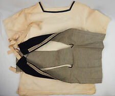1940's WWII Royal Navy British White Unifrom Shirt w/ Striped Collar Shawl Small