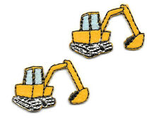 Backhoe- Excavator - Contractor  - Truck - Iron On Patch - Set Of 2 SMALL