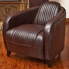 Avion WWII Jet Fighter Design Brown Leather Accent Club Chair