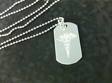 Sterling Silver Medical Alert Dog Tag on  Ball Chain. SOS, Diabetes, Allergies