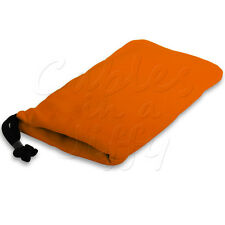 ORANGE SOFT FABRIC DRAWSTRING POUCH COVER CASE FOR BLACKBERRY 9320 CURVE PHONE