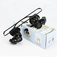 20X LED Light Magnifier Magnifying Eye Glasses Loupe Lens Watch Repair Newly