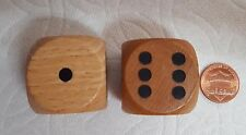 WOOD DICE - LARGE! BIG! JUMBO! - 30mm - NATURAL WOOD w/BLACK PIPS