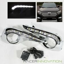 For 11-13 Highlander Chrome Fog Driving Lamp Cover w/ LED Daytime Running Lights