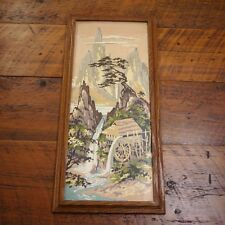 Vintage 40s Water Wheel Mill Mountain Scene Paint By Numbers PBN Painting Framed