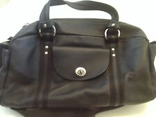NEW Mandarina Duck - Large Black Leather Handbag with Removable Key Ring