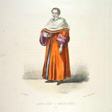Antique FrenchItalian Lithograph, Vatican Costumes Rome Cameriere Segreto 1862