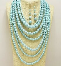 Gold and Light Turquoise Layered Pearl Necklace Set