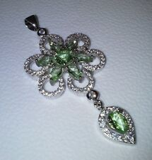 Womens Jewelry Stunning Green Peridot and CZ 925 Silver Pendant with Free Chain