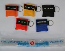 50 pcs/pack CPR MASK KEYCHAIN WITH CPR FACE SHIELD AED 5 COLORS NEW