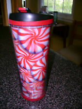 2007 STARBUCKS COFFEE PEPPERMINT CANDY TRAVEL TUMBLER LIDDED MUG