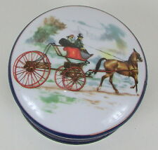 "Round Hinged Victorian Carriage Horse "" IMPERIAL PORCELAIN "" Blue 4"" Trinket Box"
