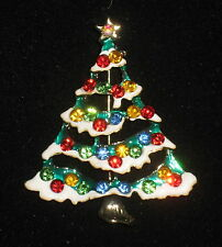 Christmas Tree Pin Crystals Snow Gold Tone Brooch Red Blue Green White Orange