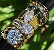 NOS Seta Gold Plated Ring Lot A Sz 8 3/4 - 9 1/2 Bold Solitaire Green Two Tone