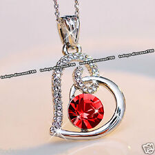 Red Crystal Heart Necklace Love Xmas Present Gift For Her Wife Couples Mum Women