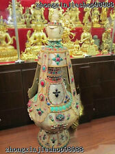 Huge Nepal Sacred crude crystal inlay ruby beryl Garuda Aquarius Buddhism Vase