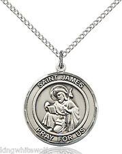 Bliss St James the Greater Patron Saint Sterling Silver Medal Pendant Necklace