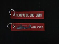 Cloth Keyring with AH-64 Apache on one side, Remove Before Flight on the other
