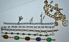 VINTAGE, ANTIQUE LOT, SCARAB, RHINESTONE, CHARM BRACELET, LE BARON CHARM WATCH