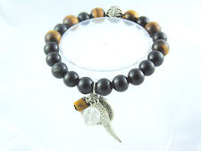 Tiger Eye Black Tourmaline Bracelet Crystal Healing Michael Angel Medal B104