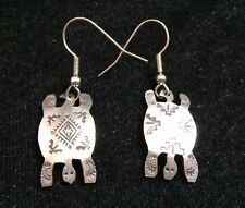 Zuni Silver Earrings STERLING TURTLE Handcrafted Native American Signed *X147