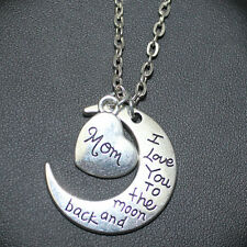 Mom Love You Forever I Love you to the moon and back Moon Necklace Pendants New