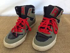 Reebok Mens sz 5.5 Green High Top Red Lace Basketball Court Shoes EUC