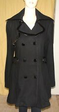 """Bebe"" Black Wool & Nylon Coat w/Patent Leather Trim~Size L (M)~Double-breasted~"