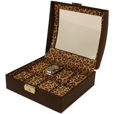 Women's Leopard and Animal Print Watch Storage Box with Lock