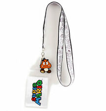 OFFICIAL SUPER MARIO BRO'S GOOMBA DRAWINGS WHITE LANYARD *BRAND NEW*