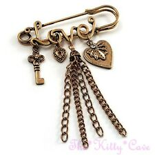 Vintage Burnt Gold Heart Key Lock Love Charms Tassels Kilt, Safety Pin Brooch