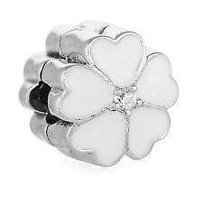 New Genuine Pandora Silver White Primrose Clip Charm 791822EN12 S925 Authentic