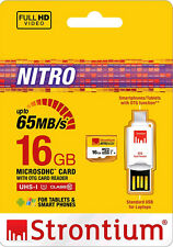 Strontium 16GB NITRO  UHS-I micro Sd with OTG Card Reader